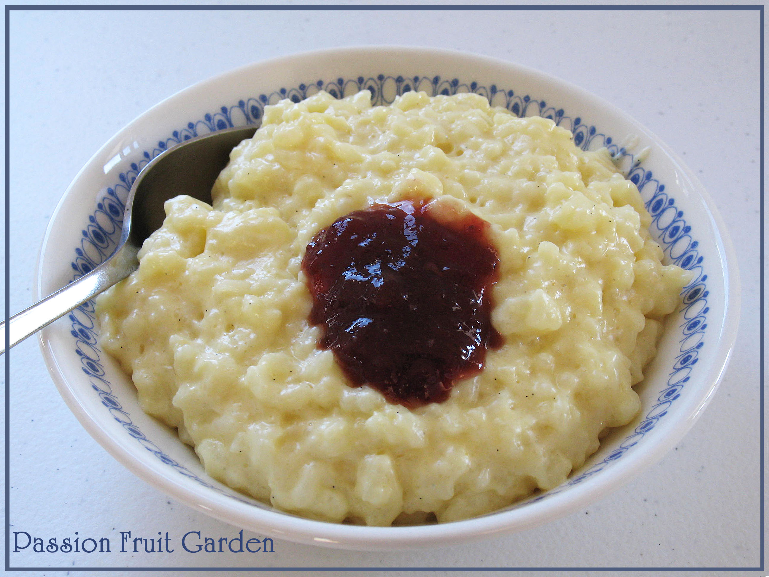 Rich Creamy Rice Pudding with Strawberry Jam | Passion Fruit Garden