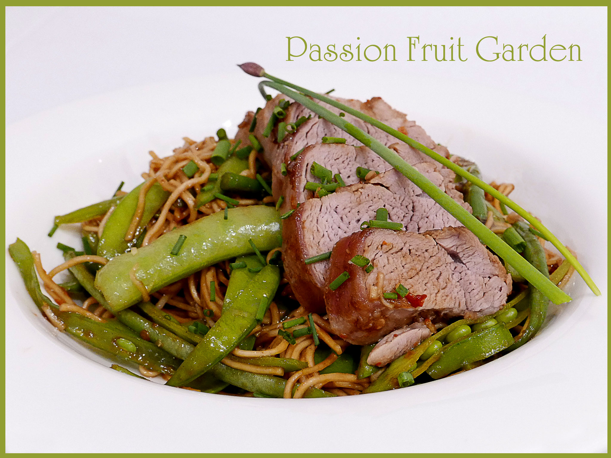 Hoisin pork with beans, snow peas and noodles | Passion Fruit Garden